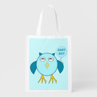 Cute Blue Baby Boy Owl Reusable Bag