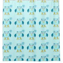 Cute Blue Baby Boy Owl Shower Curtain