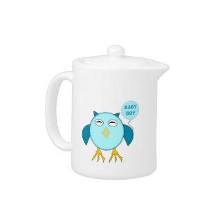 Cute Blue Baby Boy Owl Teapot