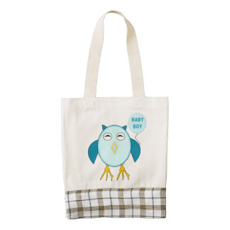 Cute Blue Baby Boy Owl Tote