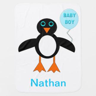 Cute Blue Baby Boy Pemguin Custom Baby Blanket