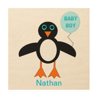 Cute Blue Baby Boy Pemguin Custom Wood Canvas