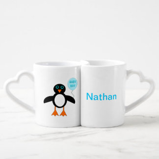 Cute Blue Baby Boy Pemguin Customizable Mugs