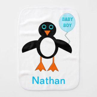 Cute Blue Baby Boy Penguin Burp Cloth