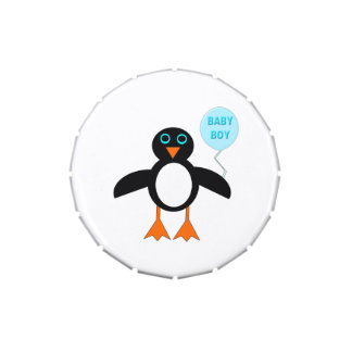 Cute Blue Baby Boy Penguin Candy Tins