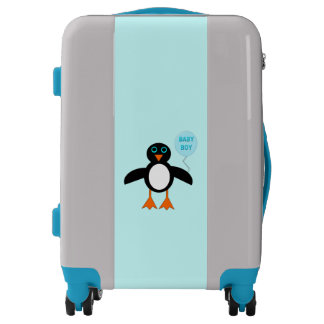 Cute Blue Baby Boy Penguin Carry on Suitcase