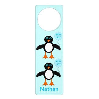 Cute Blue Baby Boy Penguin Custom Door Hanger