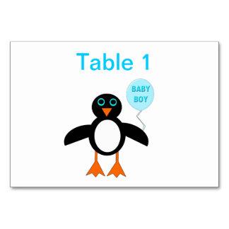 Cute Blue Baby Boy Penguin Customizable Tablecard Table Card