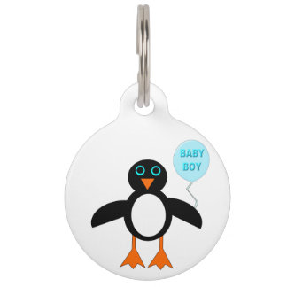 Cute Blue Baby Boy Penguin Dog Tag Pet Name Tags