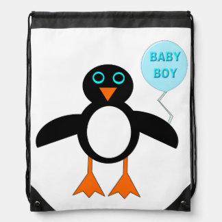 Cute Blue Baby Boy Penguin Drawstring Backpack