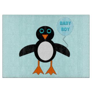 Cute Blue Baby Boy Penguin Glass Cutting Board