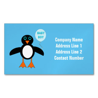Cute Blue Baby Boy Penguin Magnetic Business Cards