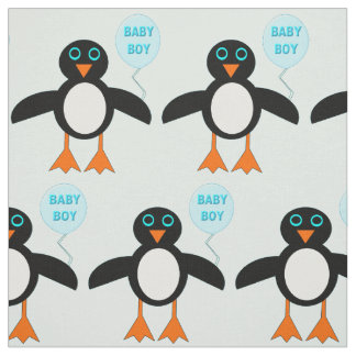 Cute Blue Baby Boy Penguin Patterned Fabric