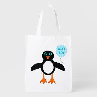 Cute Blue Baby Boy Penguin Reusable Bag Grocery Bag