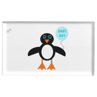 Cute Blue Baby Boy Penguin Table Card Holder