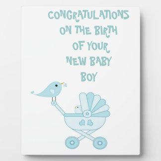 Cute Blue Baby Boy Plaque