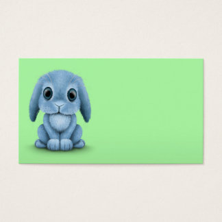Cute Blue Baby Bunny Rabbit on Green Business Card