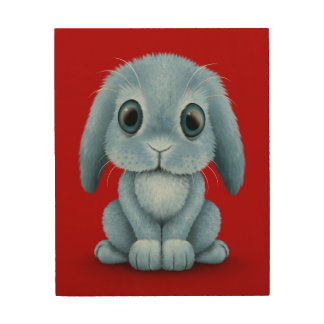Cute Blue Baby Bunny Rabbit on Red Wood Canvases