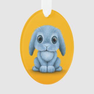 Cute Blue Baby Bunny Rabbit on Yellow