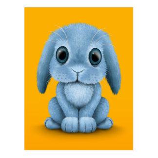 Cute Blue Baby Bunny Rabbit on Yellow Postcard