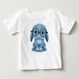 Cute Blue Baby Bunny Wearing Glasses Baby T-Shirt