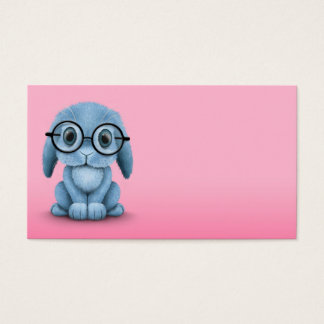 Cute Blue Baby Bunny Wearing Glasses on Pink Business Card