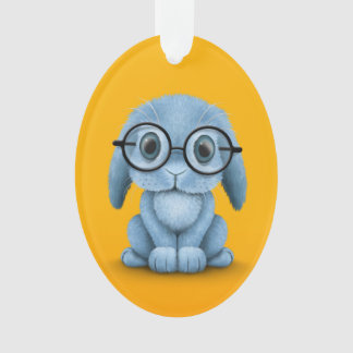 Cute Blue Baby Bunny Wearing Glasses on Yellow Ornament