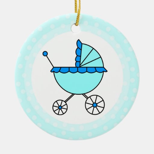Cute Blue Baby Carriage - Babies First Christmas Christmas Ornaments