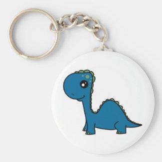 Cute Blue Baby Dinosaur Basic Round Button Keychain