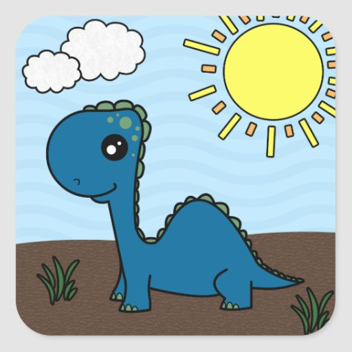 Cute Blue Baby Dinosaur Square Stickers