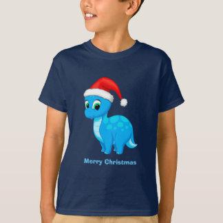 Cute Blue Baby Dinosaur with Santa Hat T-Shirt