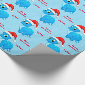 Cute Blue Baby Dinosour with Santa Hat Wrapping Paper