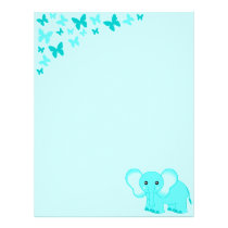 Cute Blue Baby Elephant And Butterflies Letterhead