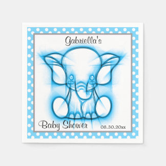 Cute Blue Baby Elephant | Baby Shower Theme Paper Napkin