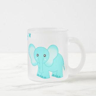 Cute Blue Baby Elephant & Butterflies Frosted Mug