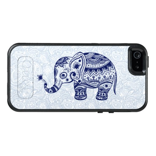 Cute Blue Baby Elephant Floral Illustration OtterBox iPhone 5/5s/SE Case