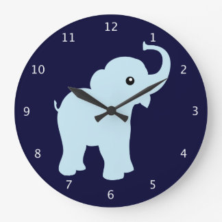 Cute blue baby elephant, great for babies room large clock