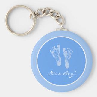 Cute Blue Baby Footprints Its a Boy Baby Shower Keychain