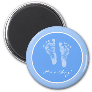 Cute Blue Baby Footprints Its a Boy Baby Shower Magnet