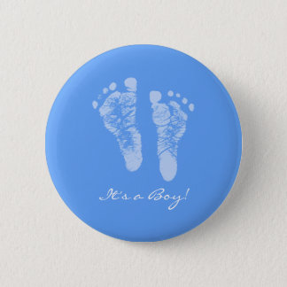 Cute Blue Baby Footprints Its a Boy Baby Shower Pinback Button