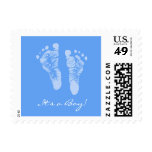 Cute Blue Baby Footprints Its a Boy Baby Shower Postage Stamp