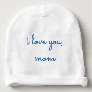 Cute Blue Baby Hat Infant Beanie I Love You Mom