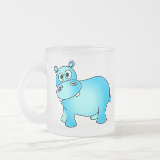 Cute Blue Baby Hippo Frosted Glass Coffee Mug