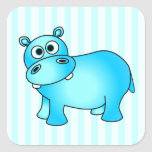 Cute Blue Baby Hippo Striped Stickers