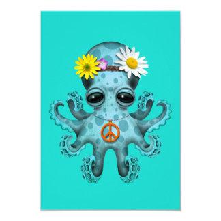 Cute Blue Baby Octopus Hippie Card
