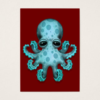 Cute Blue Baby Octopus on Red Business Card