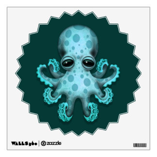 Cute Blue Baby Octopus on Teal Wall Decal