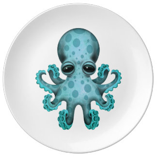 Cute Blue Baby Octopus on White Porcelain Plates