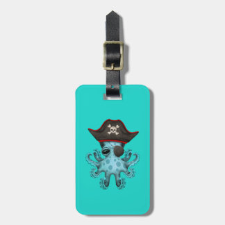 Cute Blue Baby Octopus Pirate Bag Tag