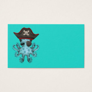Cute Blue Baby Octopus Pirate Business Card